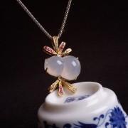 紫云-冰荧翡翠葫芦红宝石黄金伴钻吊坠