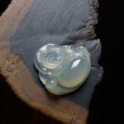 冰玻起荧翡翠弥勒佛雕件