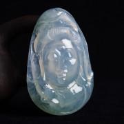 冰玻荧绿翡翠观音头像雕件-X2