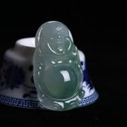 冰种飘绿花起荧翡翠弥勒立佛-8AM01