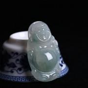冰种飘绿花起荧翡翠弥勒立佛-8AM02
