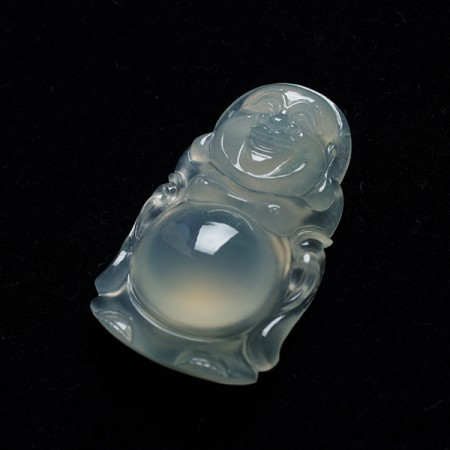 起荧玻璃种翡翠弥勒立佛吊坠-2CI01