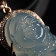 老坑玻璃种翡翠弥勒立佛玫瑰金伴钻吊坠-4DI01