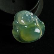 浅黄玻璃种翡翠笑佛挂件-5DX04
