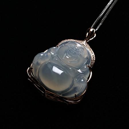 起荧冰玻种翡翠大笑佛玫瑰金伴钻吊坠-15ED01