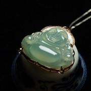 冰玻起荧翡翠大肚笑佛玫瑰金伴钻吊坠-28EM22
