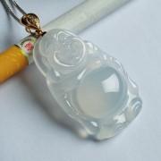 莹光老坑玻璃种翡翠弥勒立佛玫瑰金伴钻吊坠-25FF19