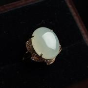 翡翠大蛋面玫瑰金戒指-30HL29