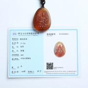 棕红缅甸琥珀文殊菩萨吊坠-31KI21