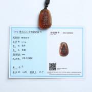 棕红缅甸琥珀文殊菩萨吊坠-31KI16