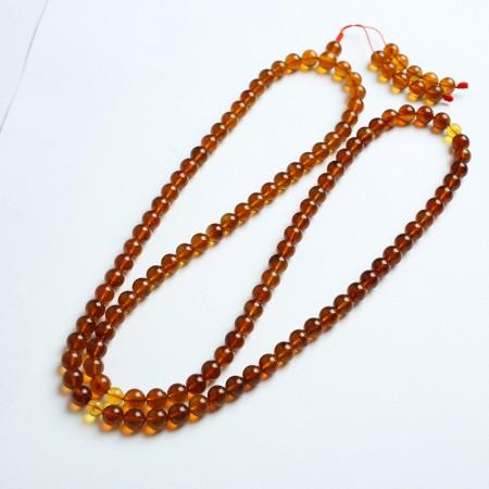 棕红缅甸琥珀108佛珠项链(8mm)-24KH01