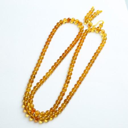 金棕缅甸琥珀108佛珠项链(7mm)-24KH15