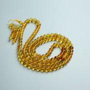 金棕缅甸琥珀108佛珠项链(6mm)-24KH02