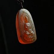 棕红缅甸琥珀阿弥陀佛吊坠-31KI22