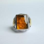 净水金珀阴雕龙腾银戒指-10KJ04