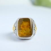 缅甸琥珀金珀阴雕龙腾银戒指-10KJ01