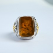 净水金珀阴雕龙腾银戒指-10KJ02