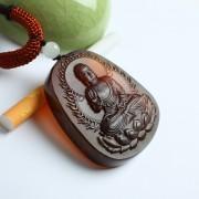 棕红缅甸琥珀阿弥陀佛吊坠-49KK02