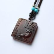 棕红缅甸琥珀生肖狗吊坠-22KQ01