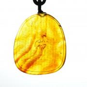 棕红缅甸琥珀心经吊坠-6KS02